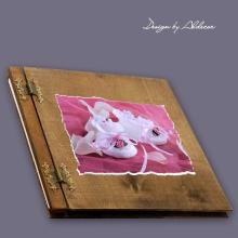 album drewniany CLASSIC duży 25 kart motyw chrzest 1