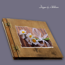 album drewniany CLASSIC duży 25 kart motyw chrzest 2