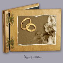 album drewniany CLASSIC  standard 25 kart motyw ślubny nr 2