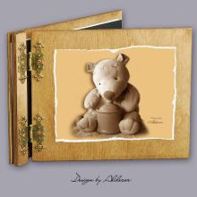 album drewniany CLASSIC średni 25 kart z motywem misia 2