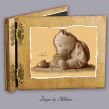 album drewniany CLASSIC średni 25 kart z motywem misia 3