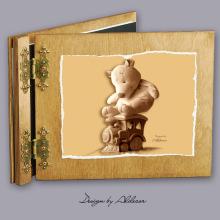 album drewniany CLASSIC średni 25 kart z motywem misia 4