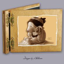 album drewniany CLASSIC średni 25 kart z motywem misia 1