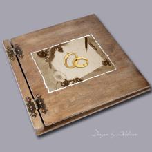 album drewniany CLASSIC duży 25 kart motyw ślubny nr 2