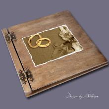 album drewniany CLASSIC duży 25 kart motyw ślubny nr3