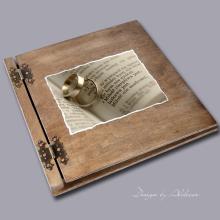 album drewniany CLASSIC duży 25 kart motyw ślubny nr 9