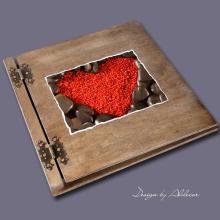 album drewniany CLASSIC duży 25 kart motyw walentynki 6
