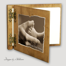 album drewniany CLASSIC średni 25 kart motyw chrzest 1
