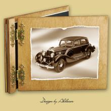 album drewniany CLASSIC standard 25 kart  motyw samochodu retro 1