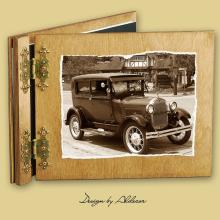 album drewniany CLASSIC standard 25 kart  motyw samochodu retro 50