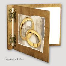 album drewniany CLASSIC  średni 25 kart motyw ślubny nr 4