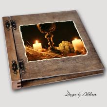 album drewniany DUO duży 50 kart I KOMUNIA motyw 1