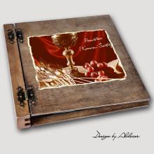 album drewniany DUO duży 50 kart I KOMUNIA motyw 2