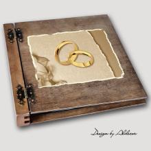album drewniany DUO duży 50 kart motyw ślubny nr 1