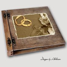 album drewniany DUO duży 50 kart motyw ślubny nr 2