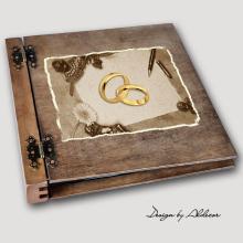 album drewniany DUO duży 50 kart motyw ślubny nr 3
