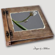 album drewniany DUO duży 50 kart motyw ślubny nr 7