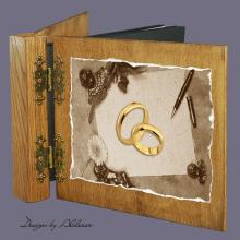 album drewniany DUO standard 50 kart motyw ślubny nr 3