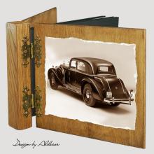 album drewniany DUO standard 50 kart z motywem samochodu retro 2