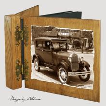 album drewniany DUO standard 50 kart z motywem samochodu retro 8