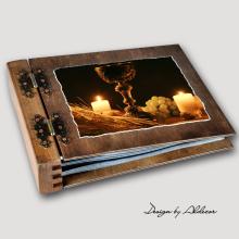 album drewniany MODENA standard 75 kart I KOMUNIA motyw 1
