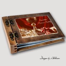 album drewniany MODENA standard 75 kart I KOMUNIA motyw 2