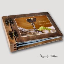 album drewniany MODENA standard 75 kart I KOMUNIA motyw 3