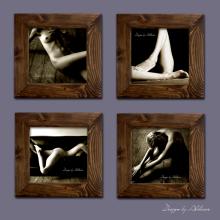 zestaw czterech grafik z motywem kobiecego aktu