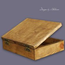 skrzynia drewniana duża do albumów - wys. 100 mm